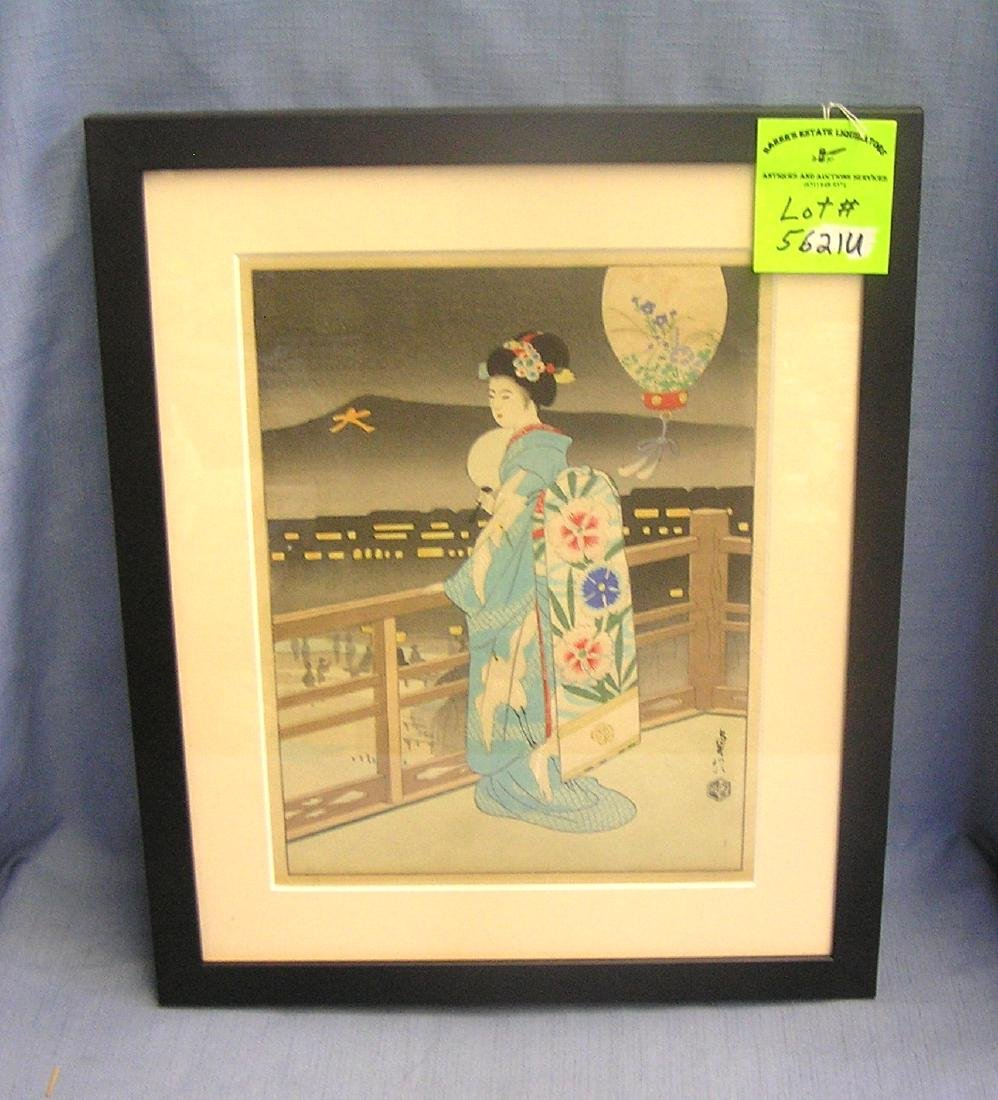 Antique signed Japanese wood block print