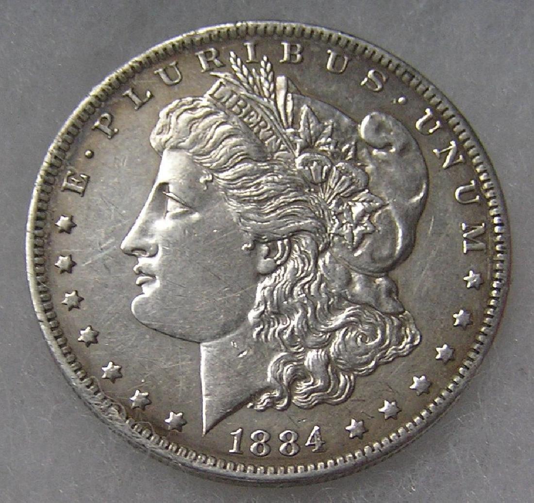 1884-O Morgan silver dollar in fine condition