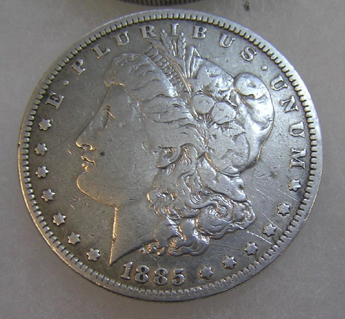1885 Morgan silver dollar in fine condition