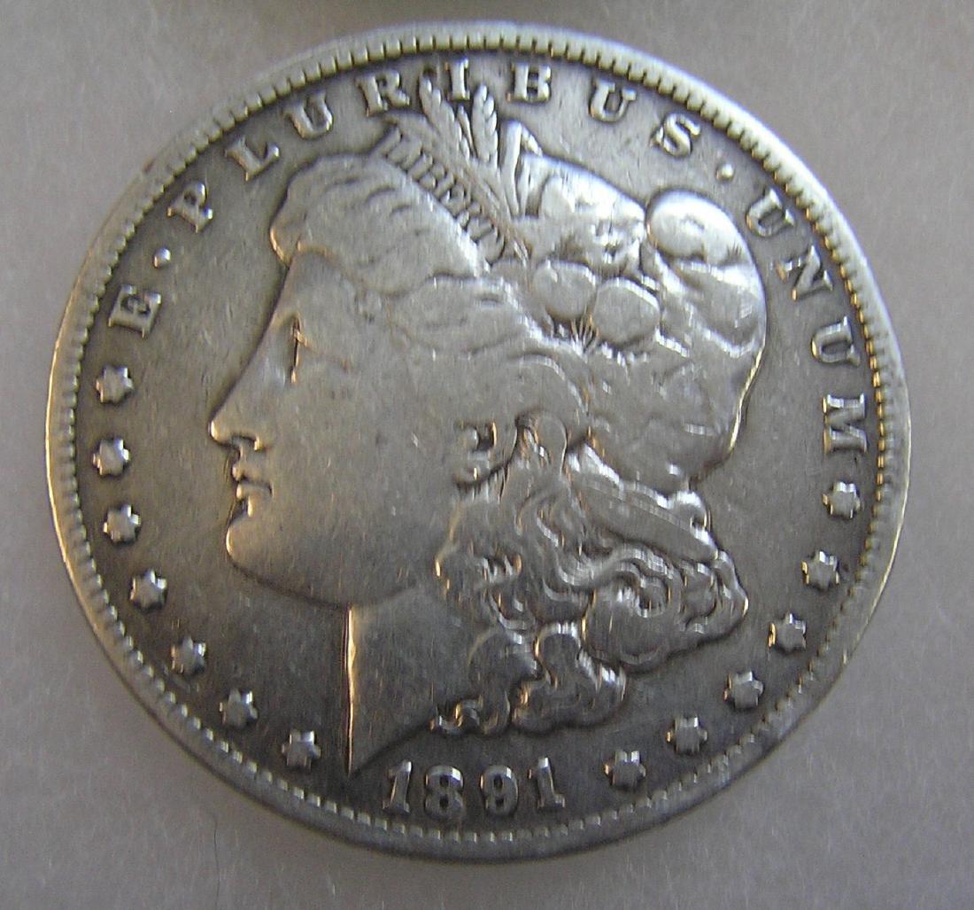 1891 Morgan silver dollar in fine condition
