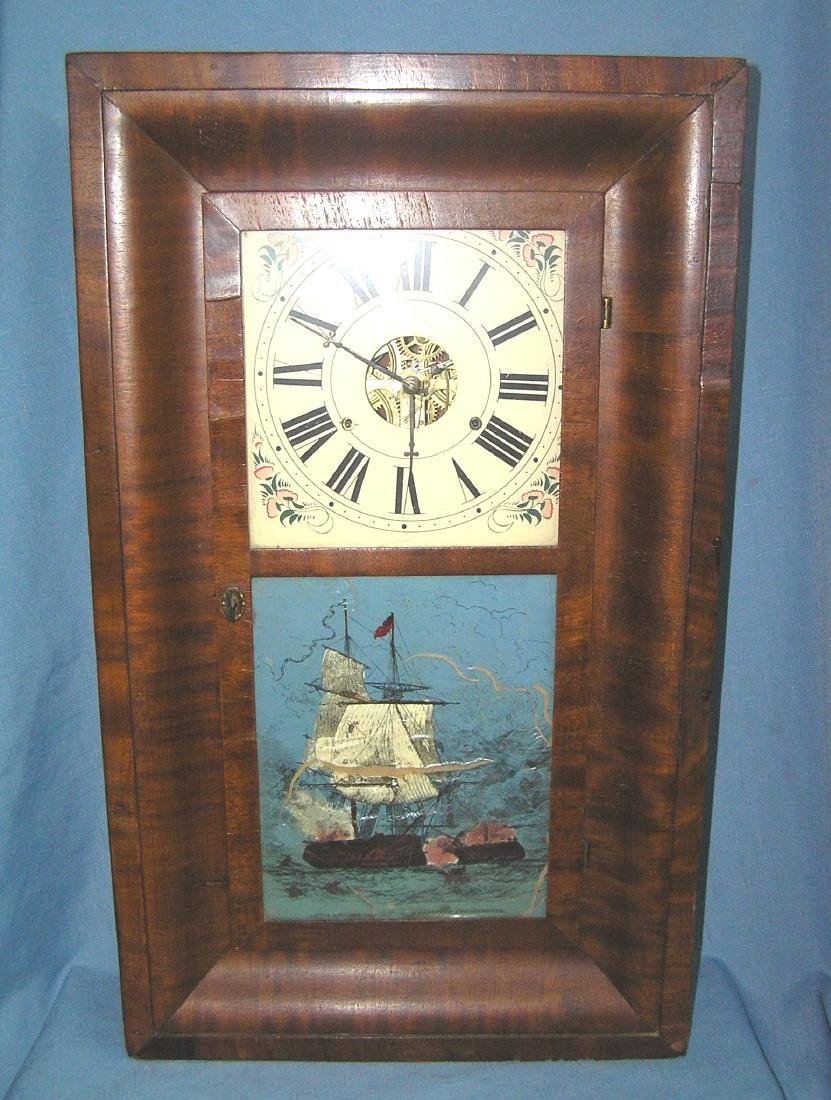 Antique reverse painted shelf clock