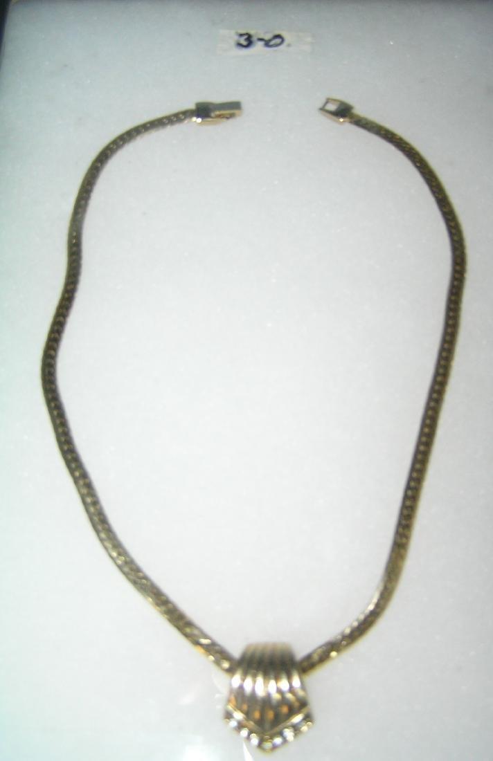 Gold tone necklace with semi precious stones