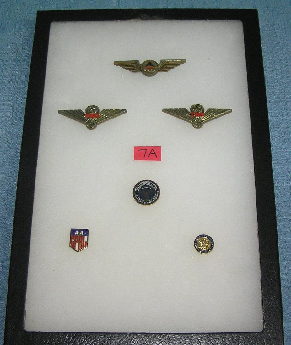 Collection of pins and wings includes TWA and others