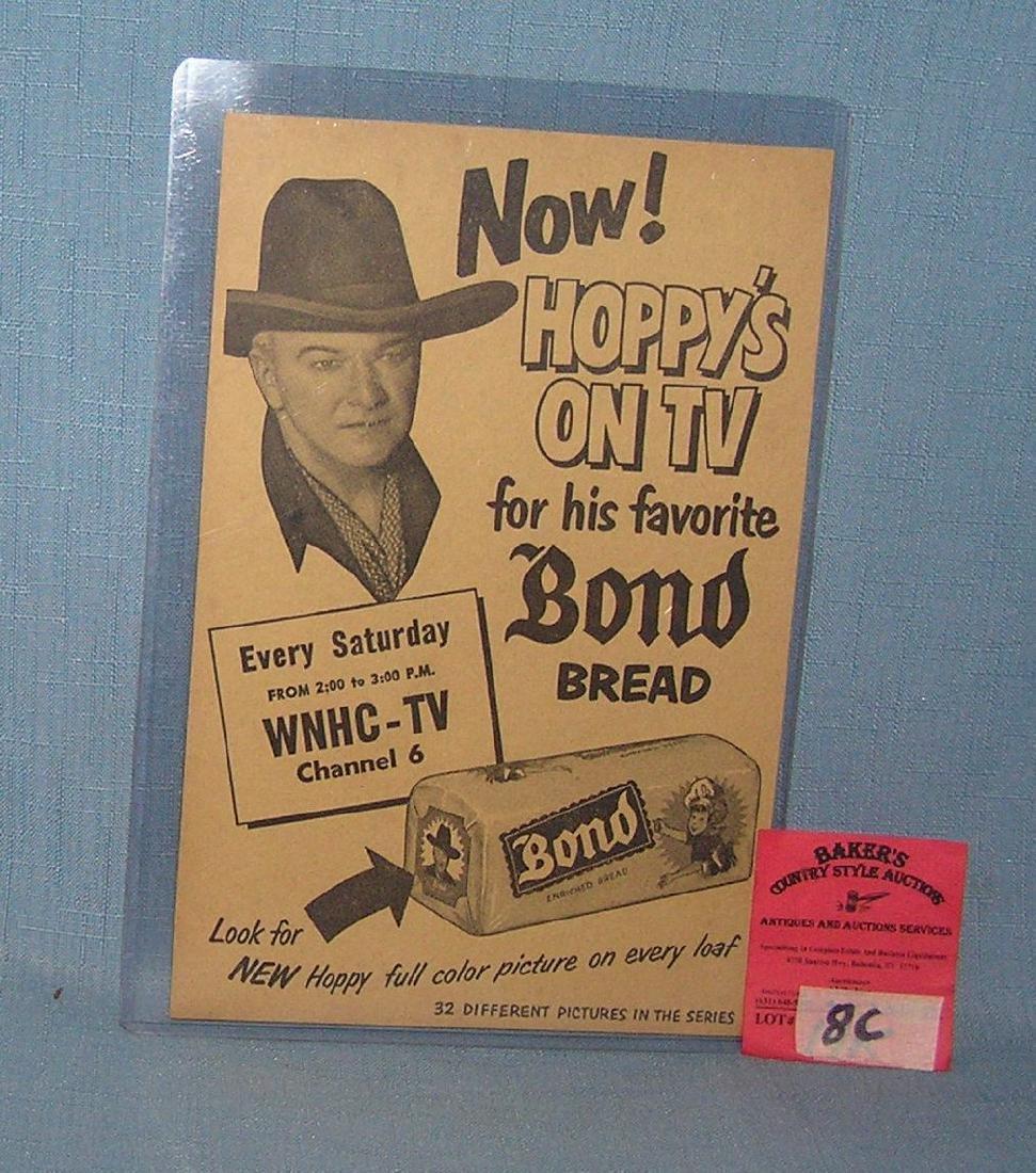 Hop-Along-Cassidy Bond Bread advertising piece