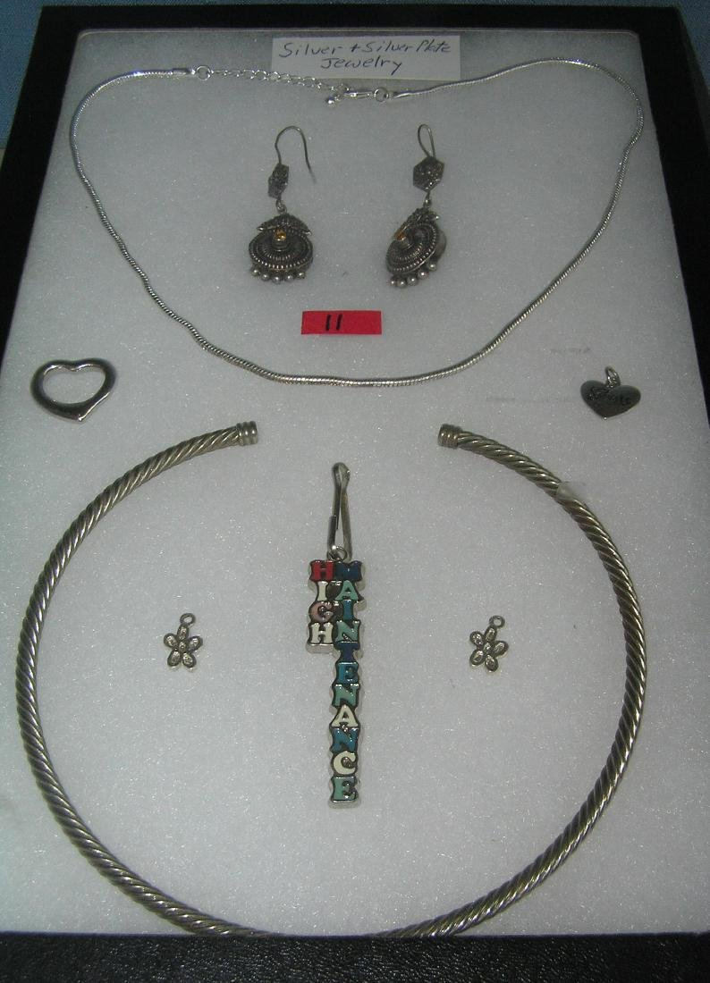 Collection of sterling silver and silver plate jewelry