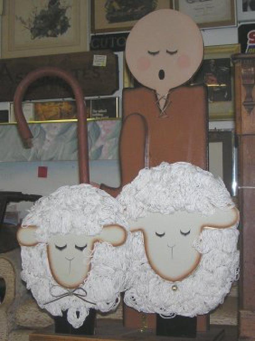 Little Bo Peep & 2 sheep wooden display piece