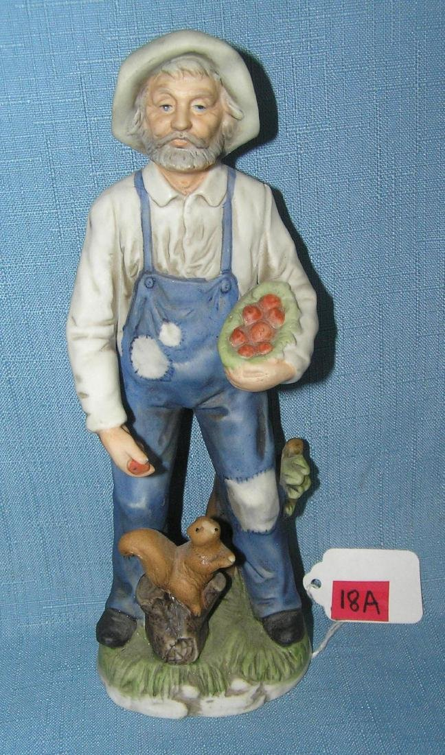 Porcelain farmer feeding squirrel figurine