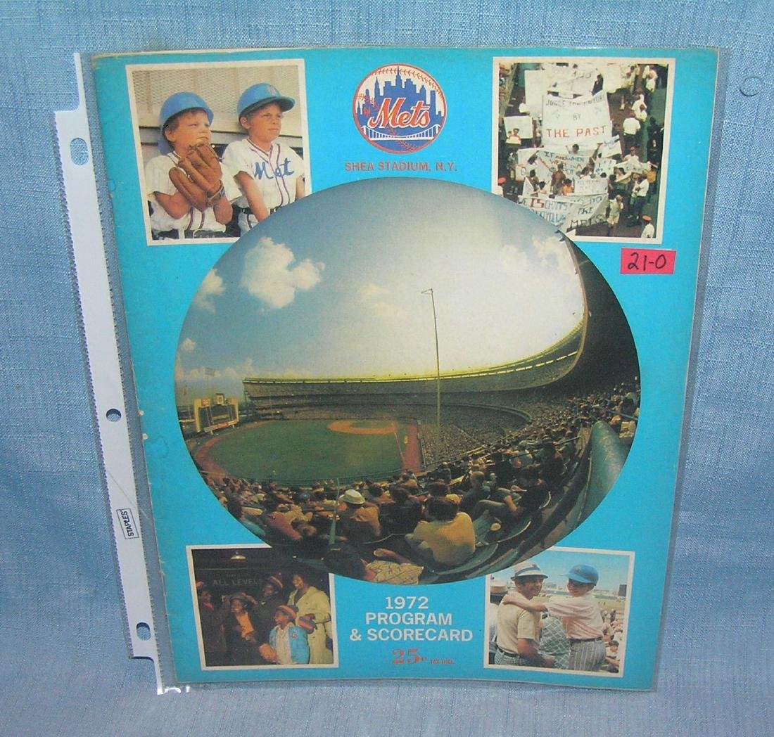 Vintage 1972 NY Mets program and score card