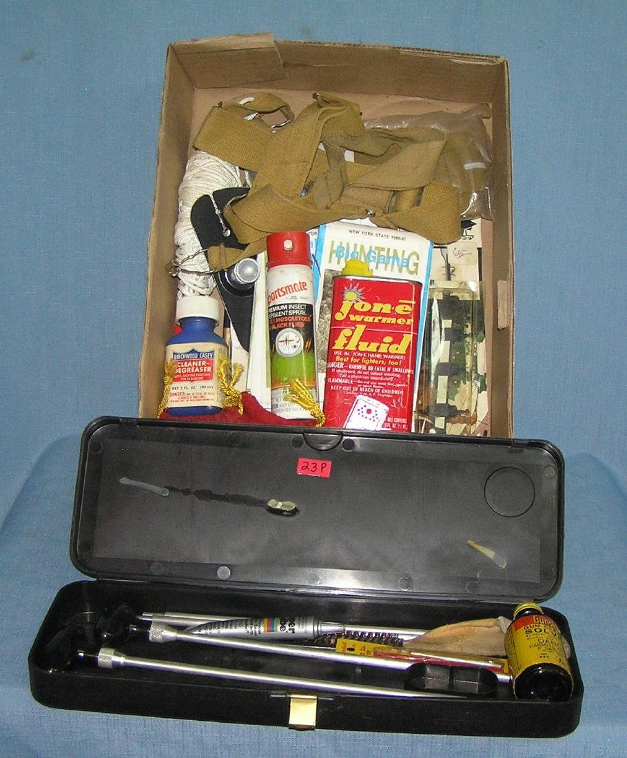 Group of hunting supplies and accessories