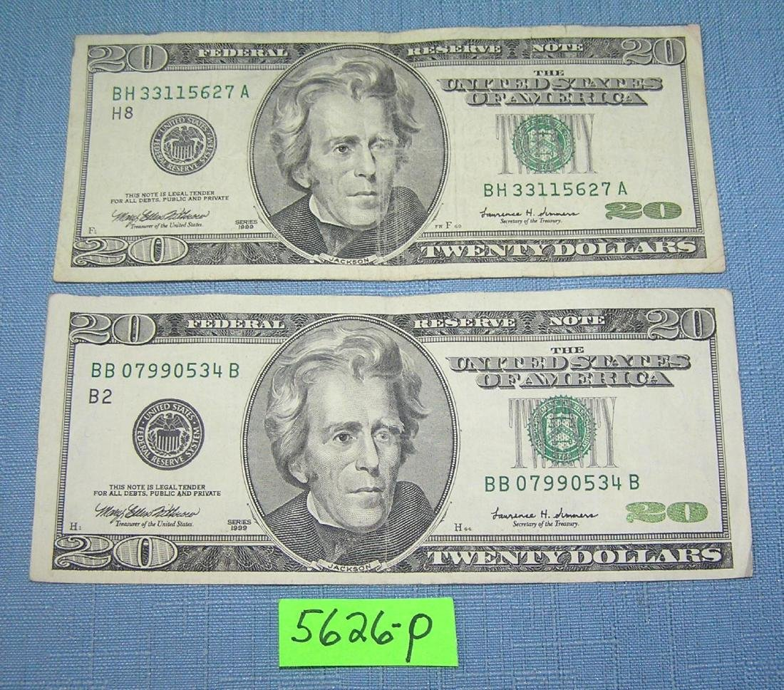 Pair of old style pre color US $20 bills