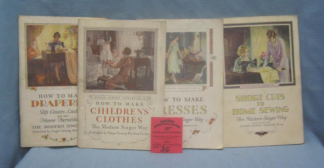 Group of four early Singer sewing books