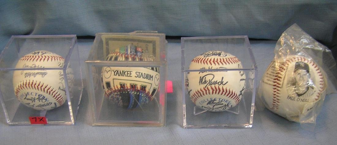 Group of 4 NY Yankees baseballs