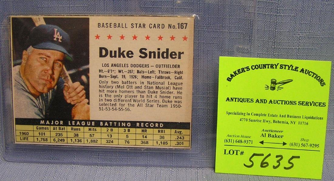 Vintage Duke Snyder baseball card