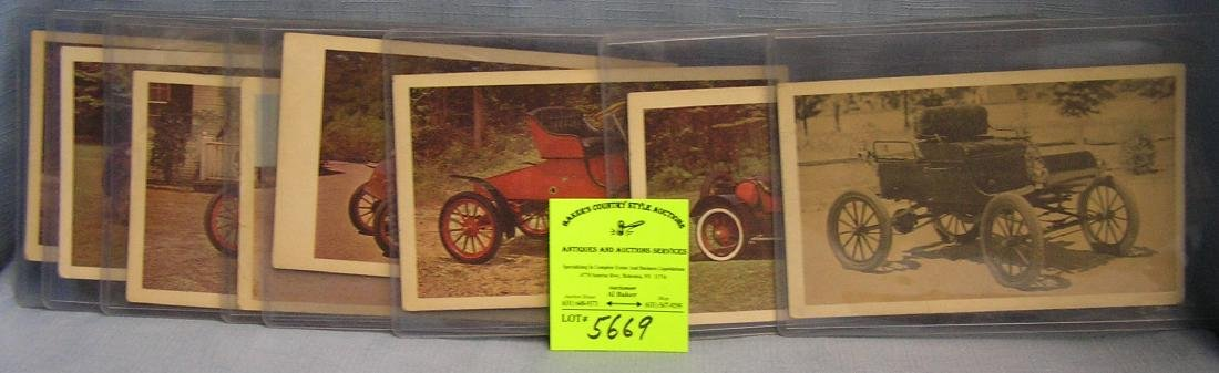 vintage automobile cards black and white and color