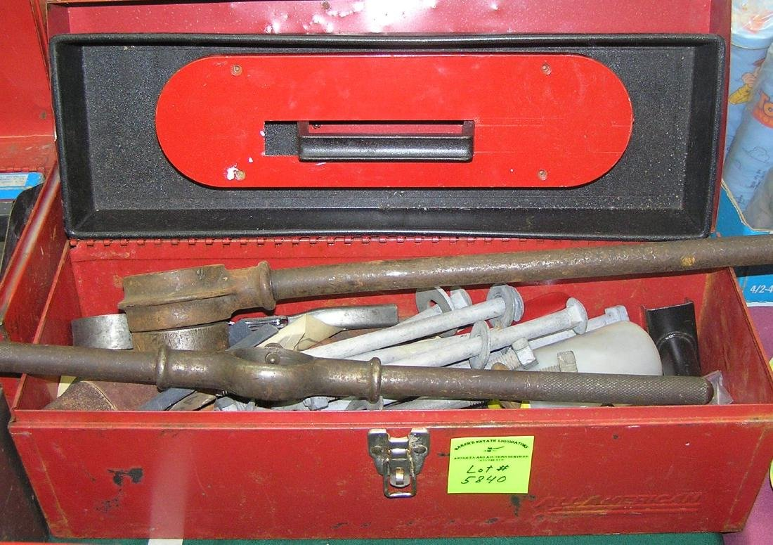 Large box full of tools, hardware and accessories