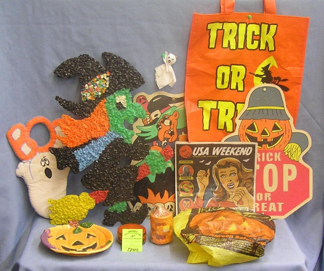 Group of vintage and modern Halloween decorations
