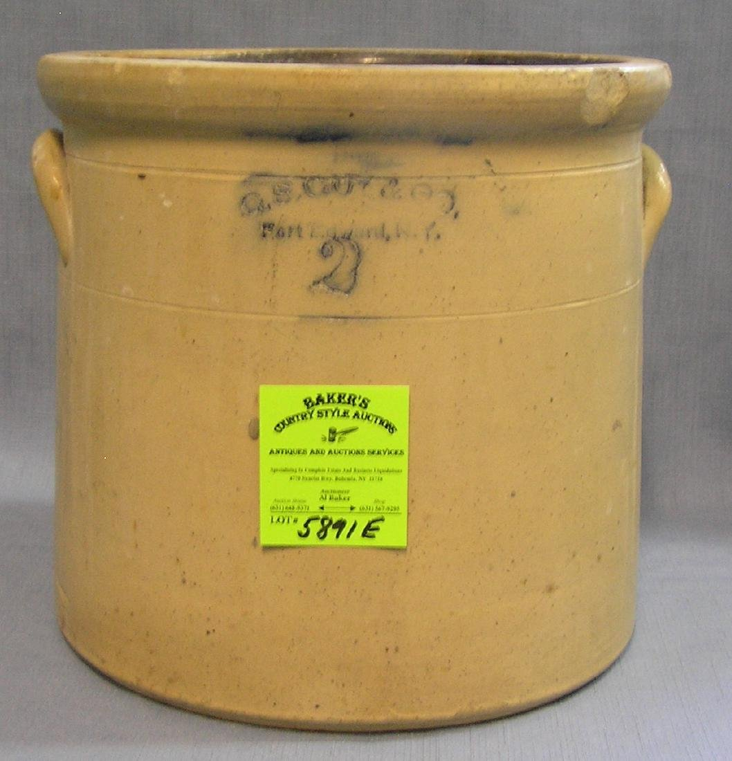 Antique 2 gallon stoneware blue decorated crock