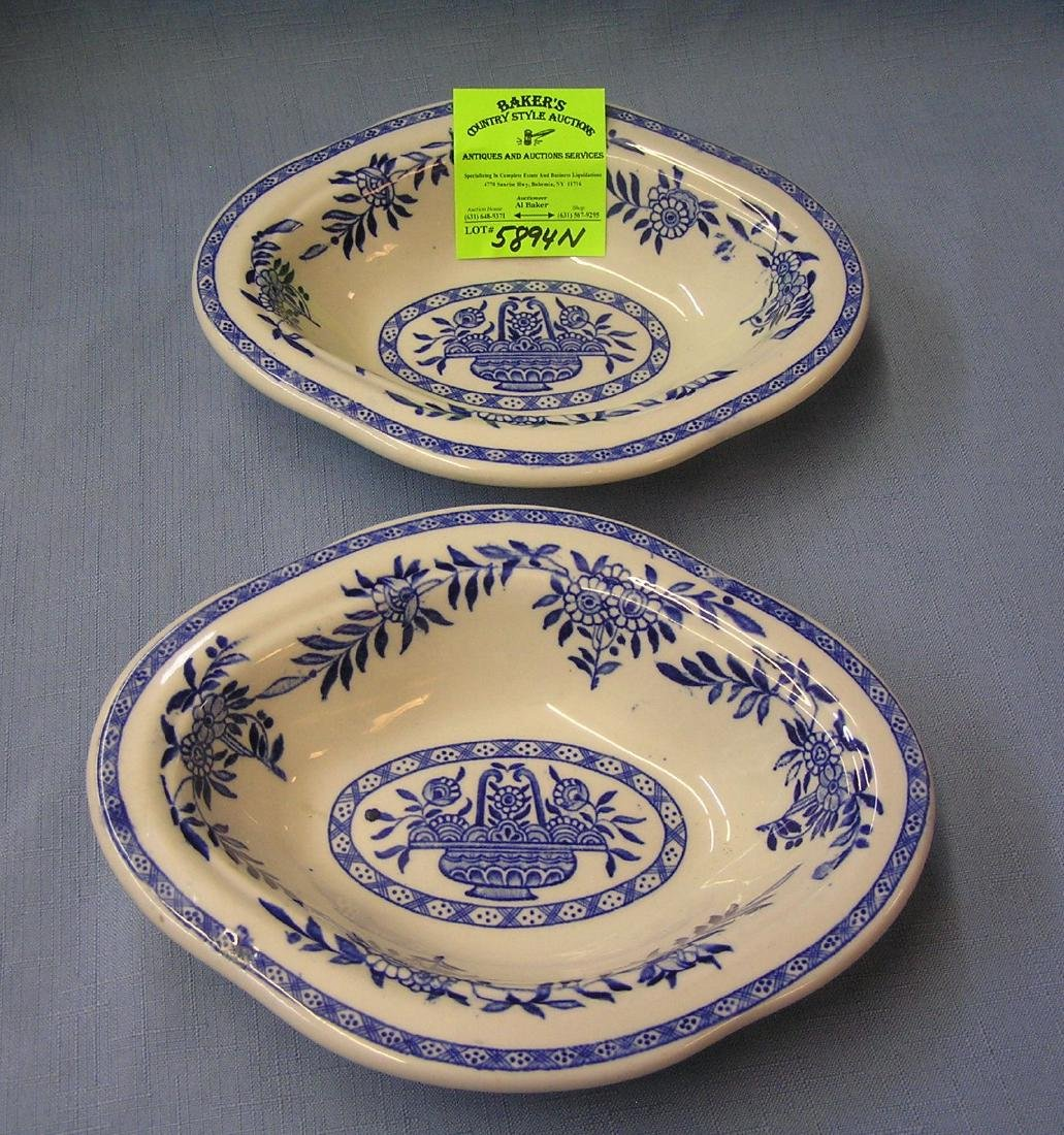 Pair of blue decorated serving bowls