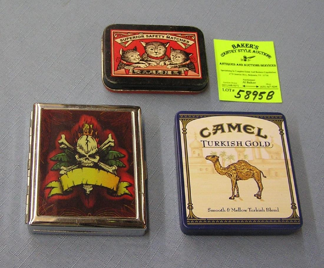 Group of collectible tins and cigarette case