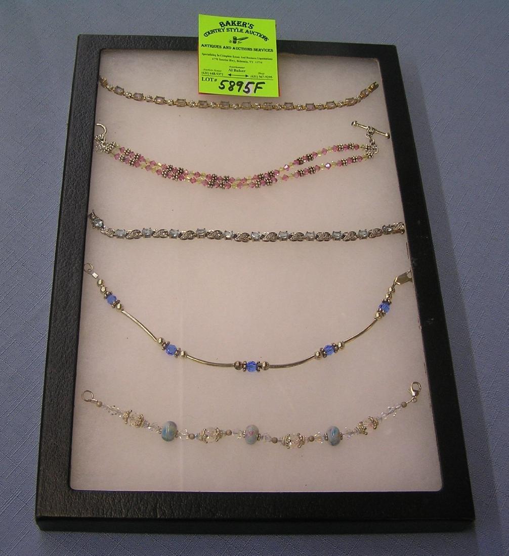 Group of sterling silver semi precious stone bracelets