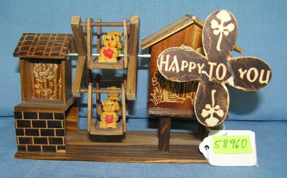 Windmill & ferris wheel w/ miniature bears music box
