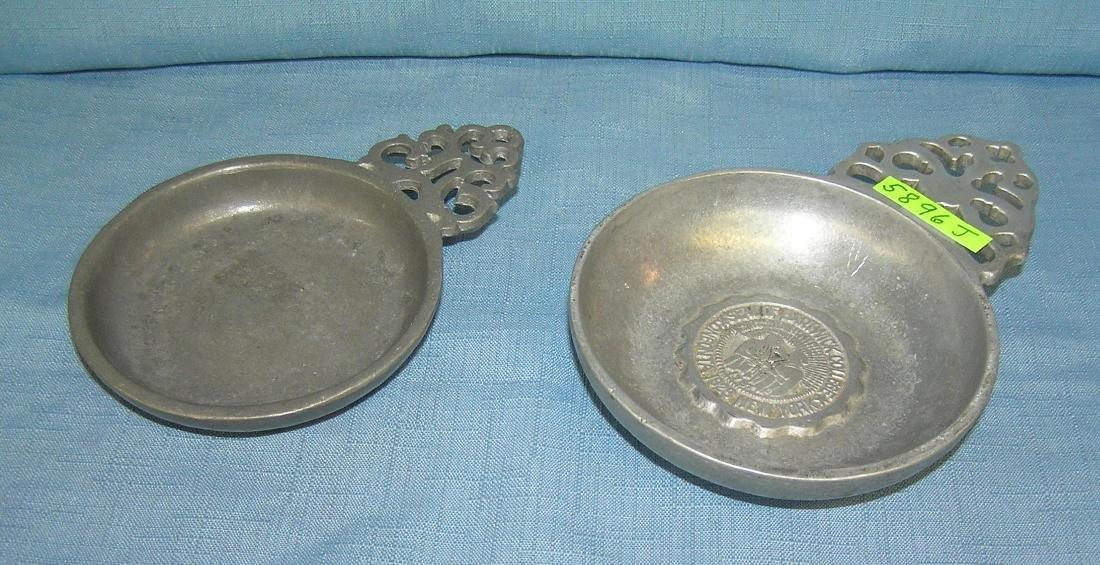 Pair of metal porringers