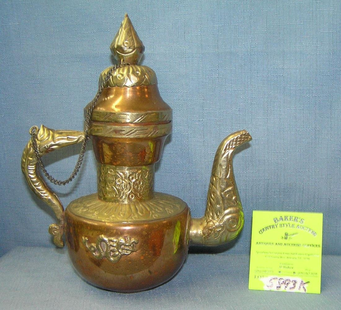 Copper and brass decorative tea pot