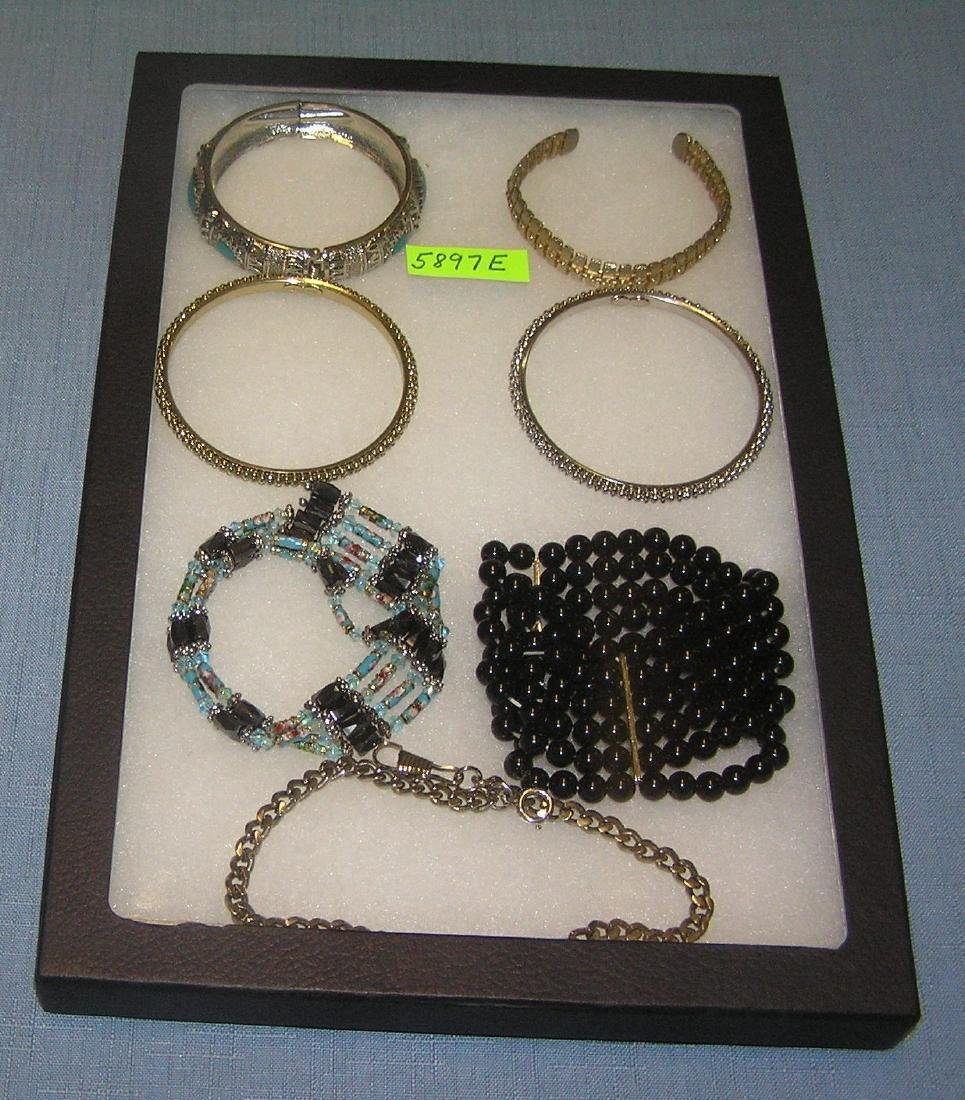 Collection of vintage costume jewelry bracelets