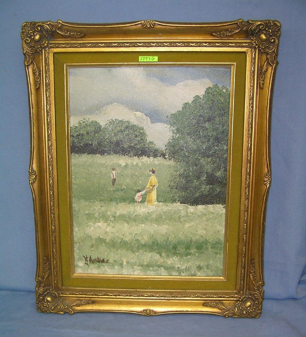 Matted and framed oil on canvas artist signed