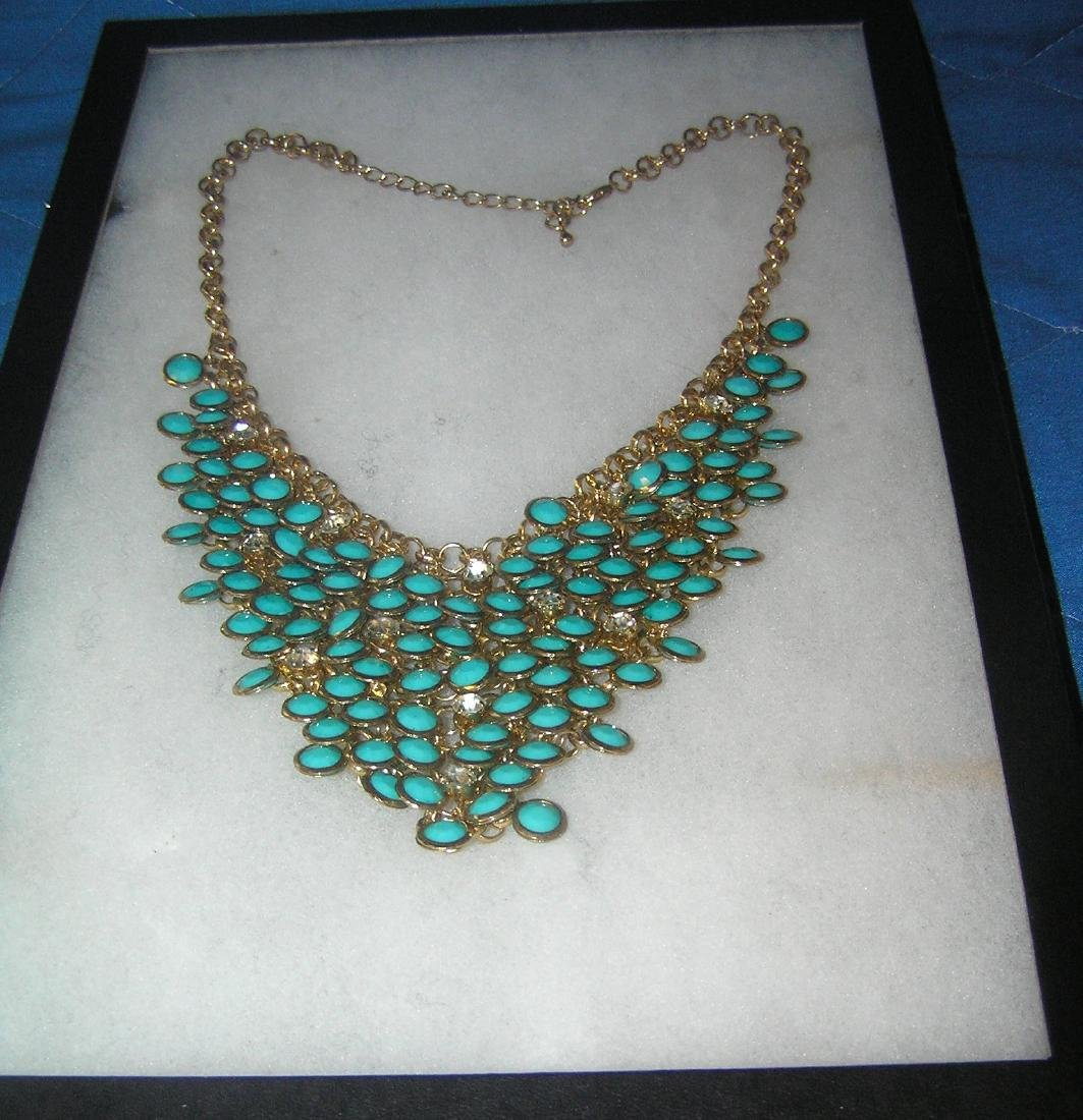 Costume jewelry necklace with turqoise stones