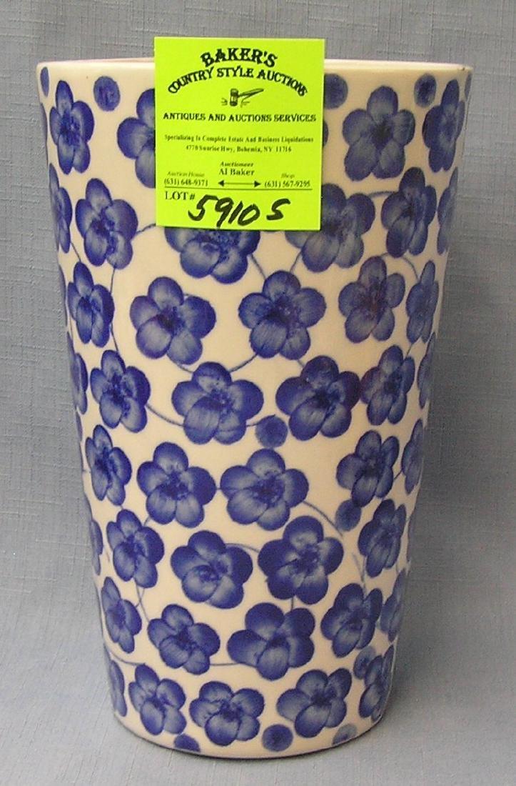 Blue floral decorated vase