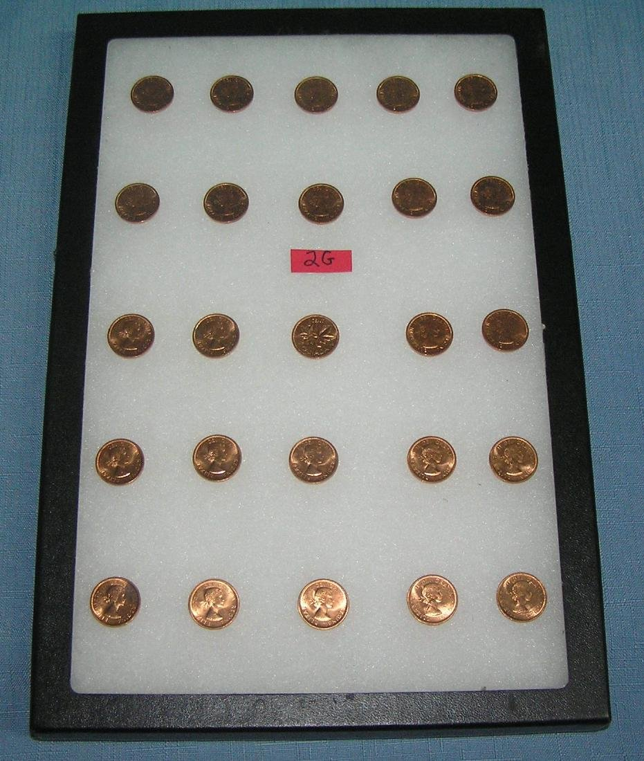 Collection of uncirculated Canadian copper pennies