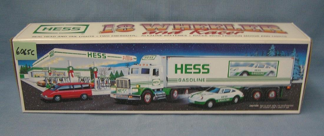 Vintage Hess 18 wheeler truck and race car