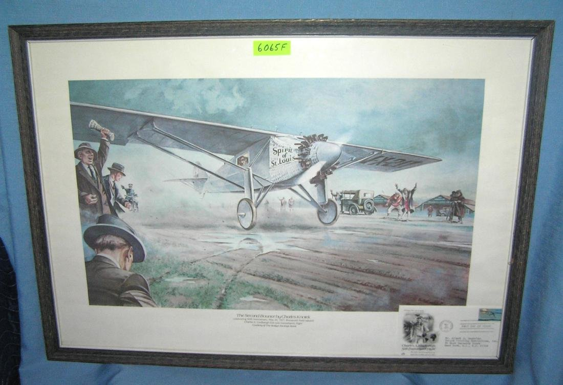 Lindbergh Spirit of St louis framed print & 1st day
