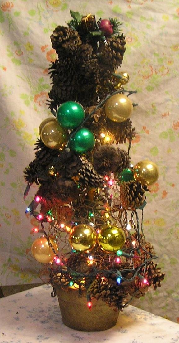 Vintage illuminated table top Christmas tree