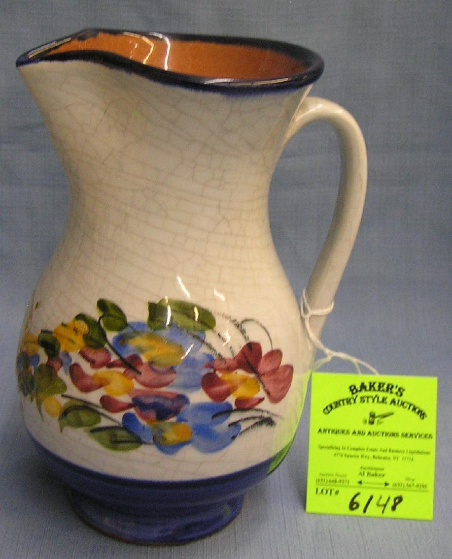 Vintage floral decorated earthenware Pitcher