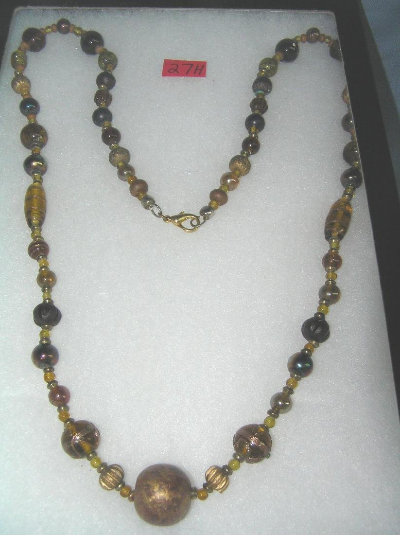 Quality costume jewelry necklace with amber beads