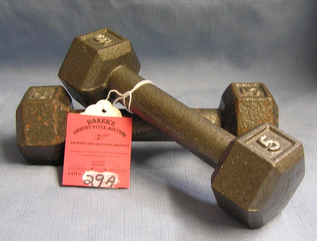 Pair of 5 pound dumb bells