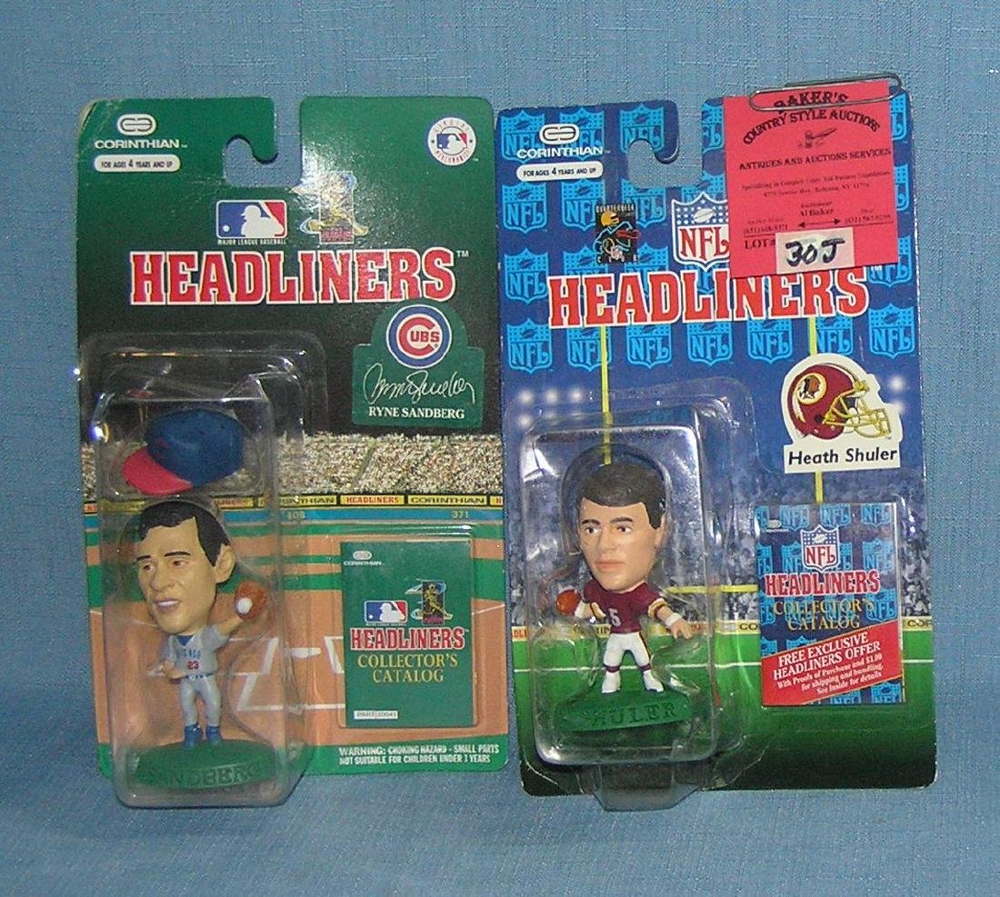 Pair of baseball and football Headliners figures