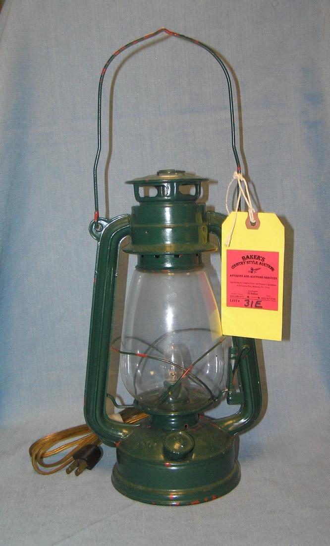 Electrified painted kerosene style lantern