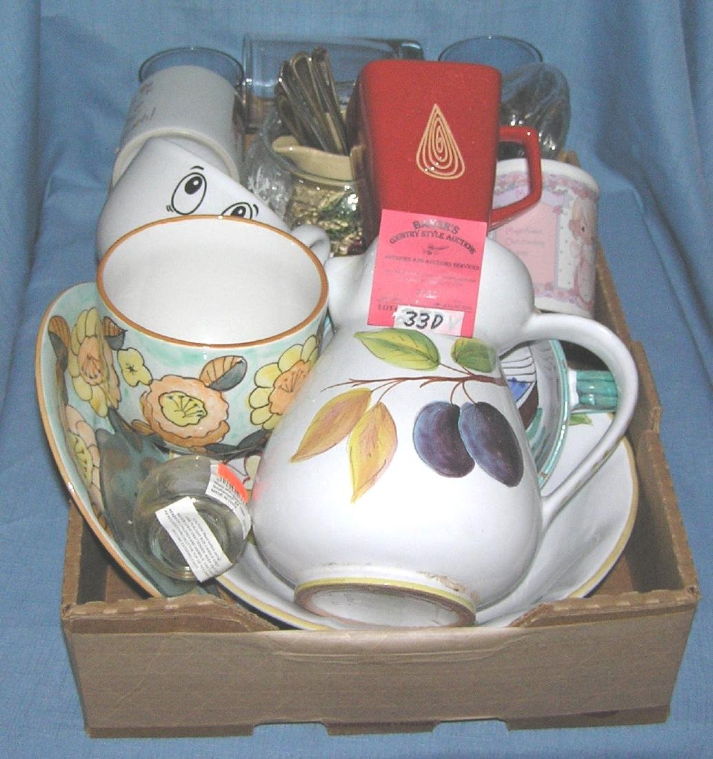 Large box full of estate wares and decorations