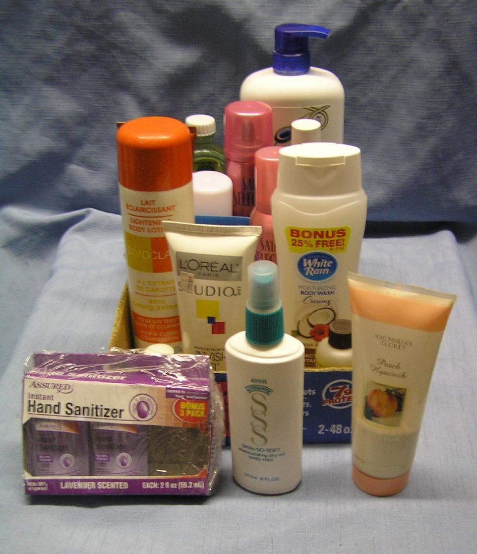 Box full of soap, body wash and beauty products