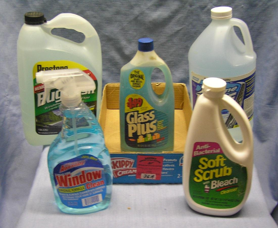 Box full of cleaning products