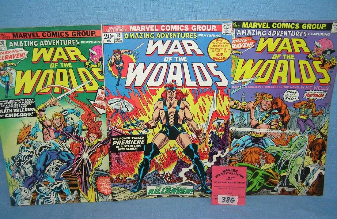 Group of vintage War of the Worlds comic books