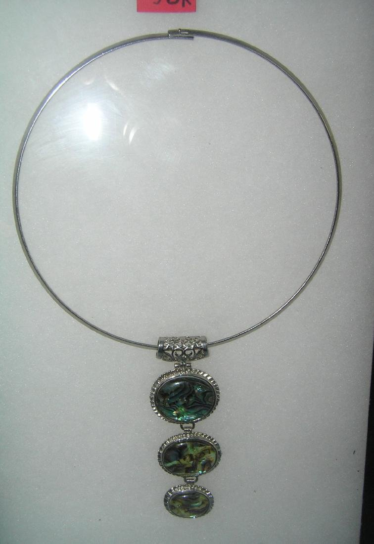 Costume jewelry necklace with abalone type stone