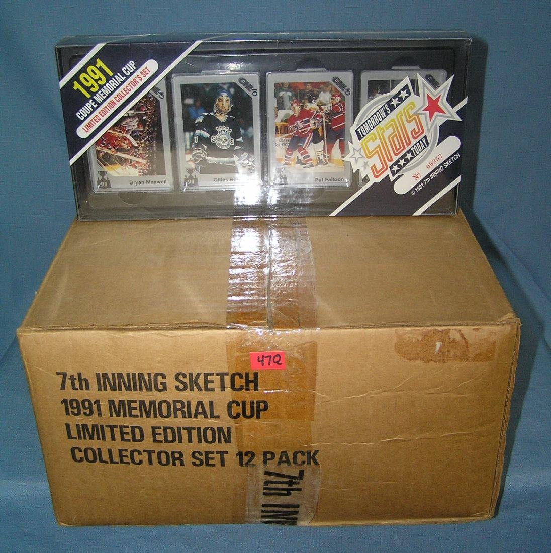Box full of vintage unopened hockey card sets