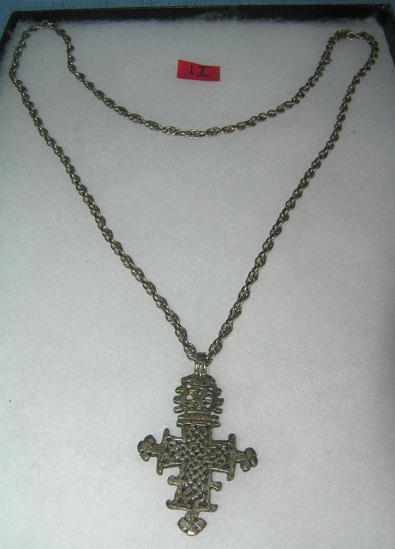 Vintage crusifix necklace all silver toned cast metal