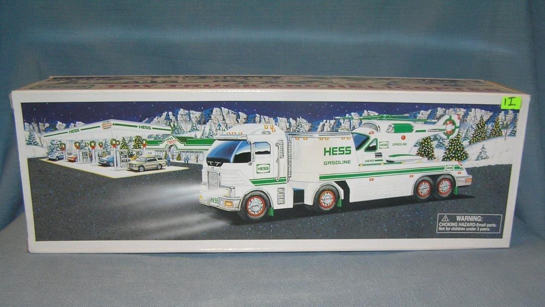 Hess toy truck and helicopter