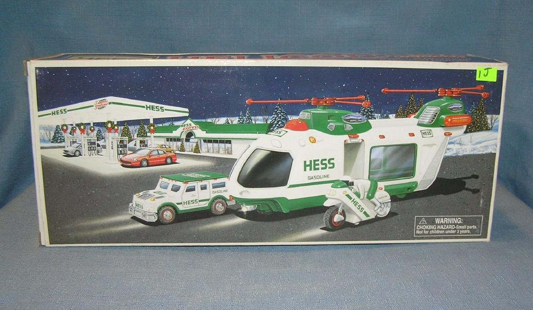 Hess toy helicopter with motor cycle and cruiser