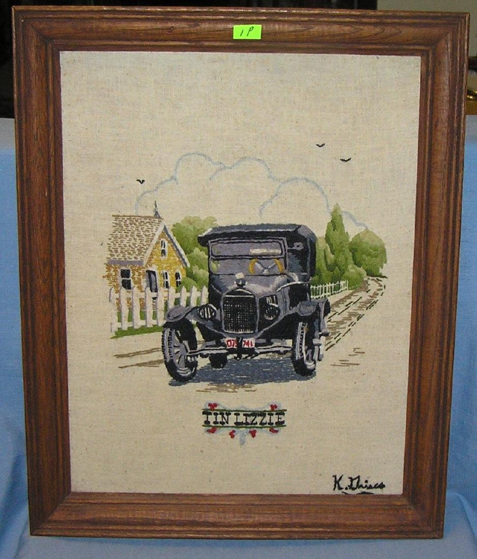 Tin Lizzie country style framed embroidery